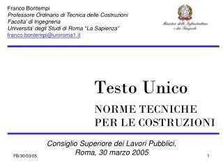 Consiglio Superiore dei Lavori Pubblici, Roma, 30 marzo 2005