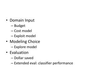 Domain  Input Budget Cost model Exploit model Modeling Choice Explore model Evaluation