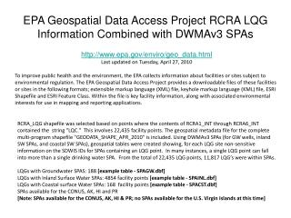 EPA Geospatial Data Access Project RCRA LQG Information Combined with DWMAv3 SPAs