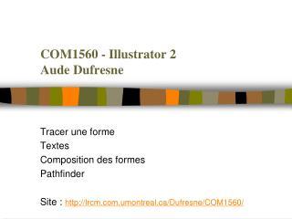 COM1560 - Illustrator 2 Aude Dufresne