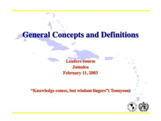 General Concepts and Definitions