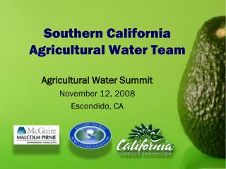 Southern California  Agricultural Water Team