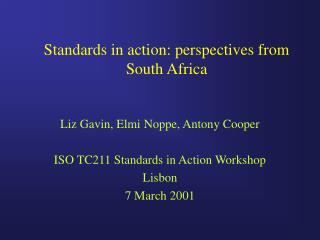 Standards in action: perspectives from South Africa