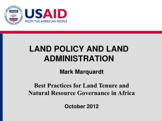 LAND POLICY AND LAND ADMINISTRATION