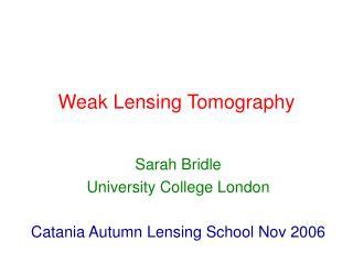 Weak Lensing Tomography
