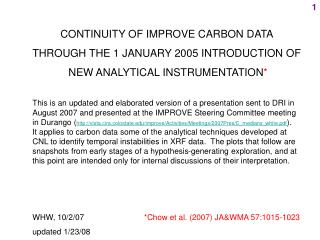 CONTINUITY OF IMPROVE CARBON DATA  THROUGH THE 1 JANUARY 2005 INTRODUCTION OF