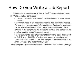 How Do you Write a Lab Report