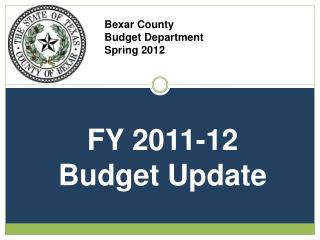 Bexar County  Budget Department Spring 2012