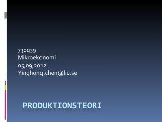 Produktionsteori