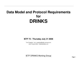 Data Model and Protocol Requirements for DRINKS
