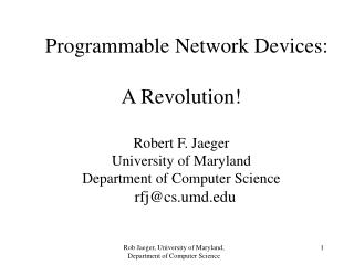 Programmable Network Devices
