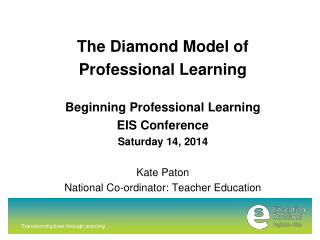 The Diamond Model of  Professional Learning Beginning Professional Learning EIS Conference