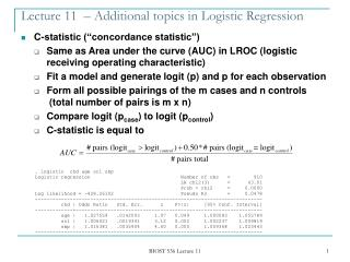 Lecture 11  – Additional topics in Logistic Regression