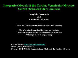Center Website  ccbm.jhu Models, Data, Presentations