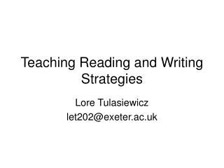Teaching Reading and Writing Strategies