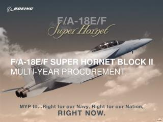 F/A-18E/F SUPER HORNET BLOCK II MULTI-YEAR PROCUREMENT