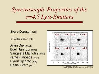 Spectroscopic Properties of the z=4.5 Ly a -Emitters
