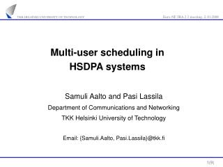 Multi-user scheduling in  HSDPA systems