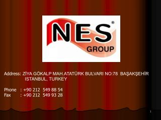 Address: ZIYA G KALP MAH.ATAT RK BULVARI NO:78  BASAKSEHIR              ISTANBUL, TURKEY  Phone  : 90 212  549 88 54 Fax