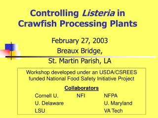 Controlling Listeria in Crawfish Processing Plants