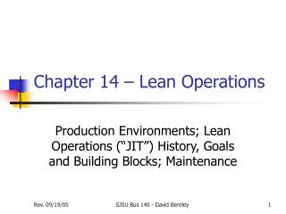 Chapter 14 – Lean Operations