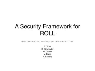 A Security Framework for ROLL