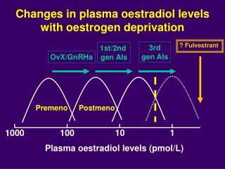 Changes in plasma oestradiol levels  with oestrogen deprivation