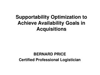 BERNARD PRICE Certified Professional Logistician