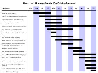 Mason Law:  First-Year Calendar (Day/Full-time Program)