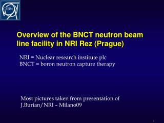 Overview of the BNCT neutron beam line facility in NRI  Rez  ( Prague)