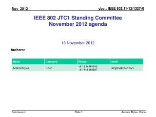 IEEE 802 JTC1 Standing Committee November 2012 agenda