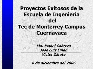 Proyectos Exitosos de la Escuela de Ingeniería  del  Tec de Monterrey Campus Cuernavaca
