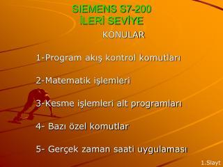SIEMENS S7-200 İLERİ SEVİYE