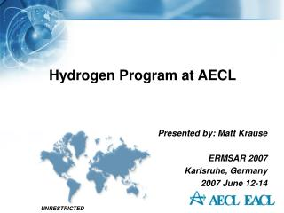 Hydrogen Program at AECL