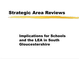 Strategic Area Reviews