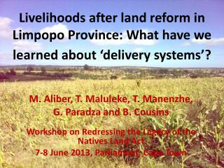 Livelihoods after land reform in Limpopo Province: What have we learned about 'delivery systems'?