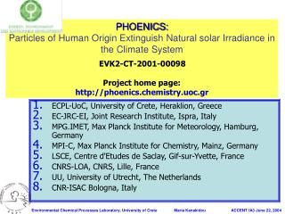 ECPL-UoC, University of Crete, Heraklion, Greece EC-JRC-EI, Joint Research Institute, Ispra, Italy