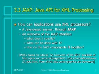 3.3 JAXP: Java API for XML Processing