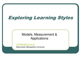 Exploring Learning Styles