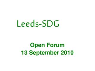 Open Forum 13 September 2010