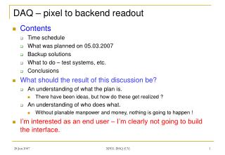 DAQ � pixel to backend readout