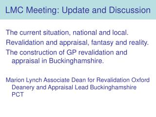 LMC Meeting: Update and Discussion