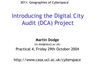 Introducing the Digital City Audit (DCA) Project