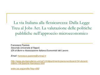Francesco Pastore Seconda Università di Napoli,