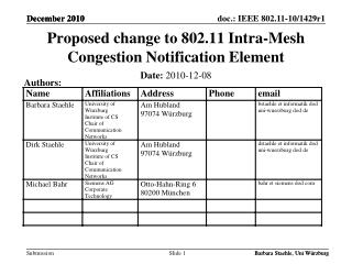 Proposed  change to 802.11 Intra-Mesh Congestion Notification Element