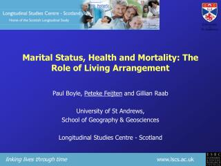 Marital Status, Health and Mortality: The Role of Living Arrangement