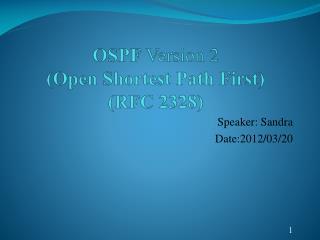 OSPF  Version 2 (Open Shortest Path First) (RFC 2328)