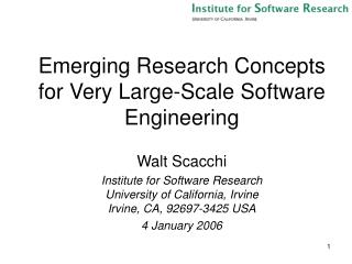 Emerging Research Concepts for Very Large-Scale Software Engineering