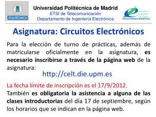 Asignatura: Circuitos Electrónicos