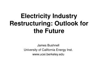 Electricity Industry Restructuring: Outlook for the Future